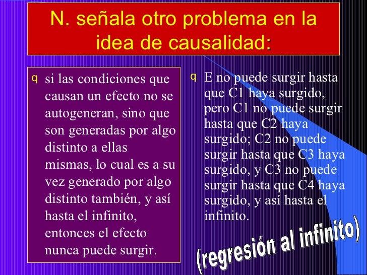 N. señala otro problema en la idea de causalidad : <ul><li>si las condiciones que causan un efecto no se autogeneran, sino...