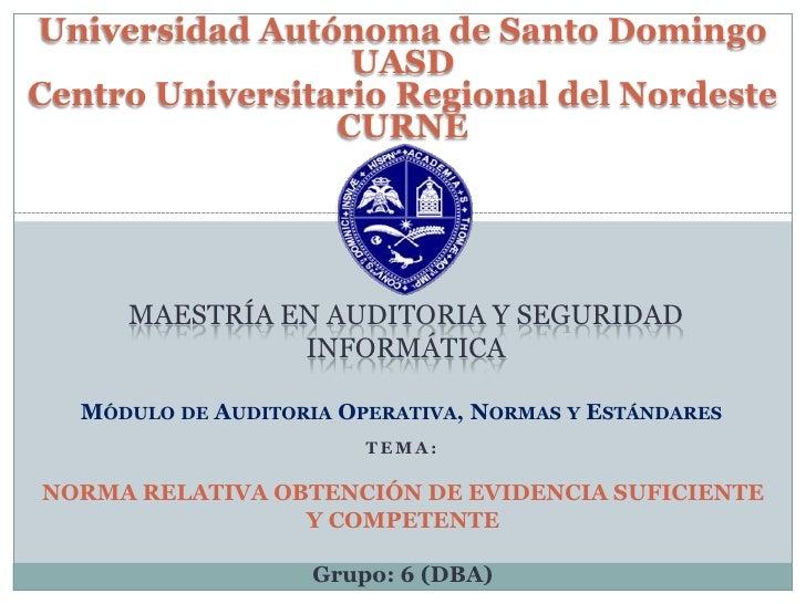 Universidad Autónoma de Santo Domingo  UASD<br />Centro Universitario Regional del Nordeste CURNE<br />Maestría en Auditor...