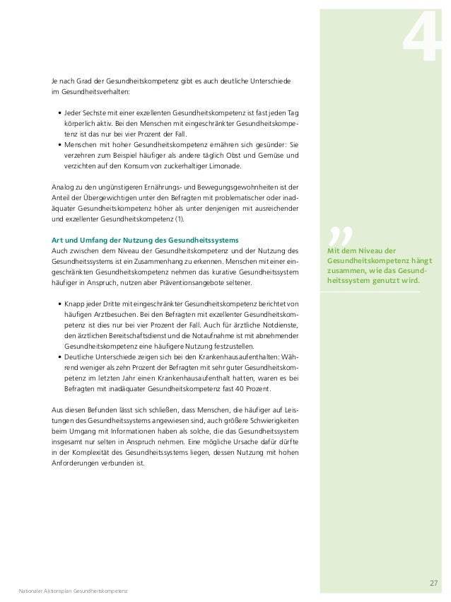 Nationaler Aktionsplan Gesundheitskompetenz: Die Gesundheitskompetenz…