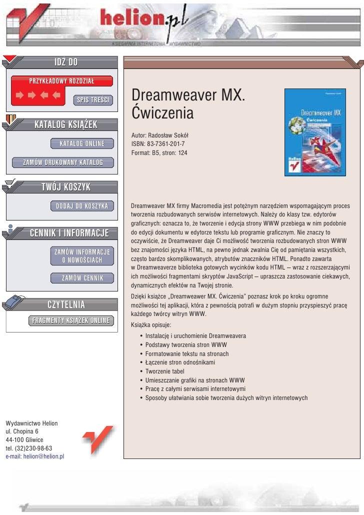 IDZ DO          PRZYK£ADOWY ROZDZIA£                             SPIS TRE CI   Dreamweaver MX.                            ...
