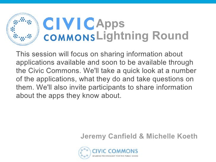 Apps Lightning Round This session will focus on sharing information about applications available and soon to be available...