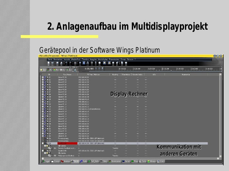 2. Anlagenaufbau im Multidisplayprojekt  Gerätepool in der Software Wings Platinum                             Display-Rec...