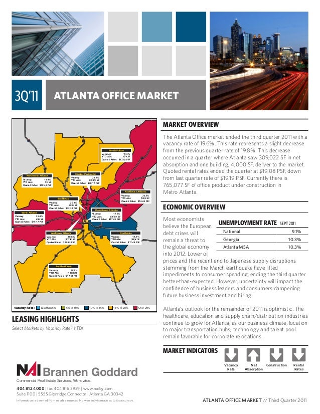 ATLANTA OFFICE MARKET MARKET OVERVIEW The Atlanta Office market ended the third quarter 2011 with a vacancy rate of 19.6%....