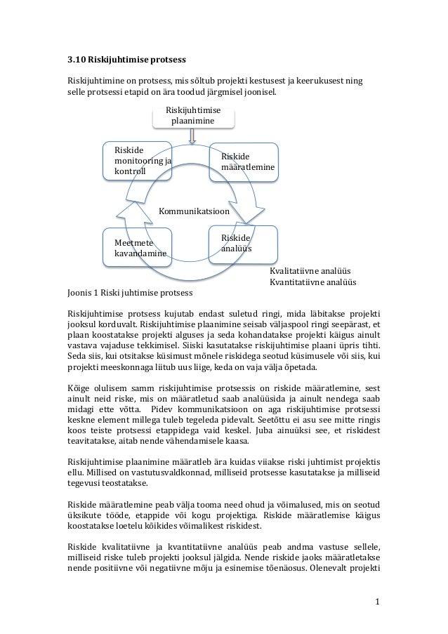 3.10  Riskijuhtimise  protsess      Riskijuhtimine  on  protsess,  mis  sõltub  projekti  kestusest  ...