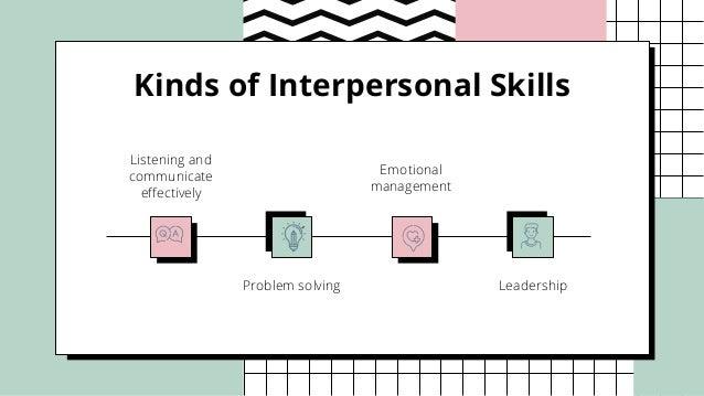 Kinds of Interpersonal Skills Listening and communicate effectively Emotional management Problem solving Leadership