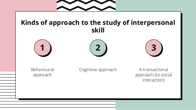 Kinds of approach to the study of interpersonal skill Behavioural approach Cognitive approach A transactional approach (to...