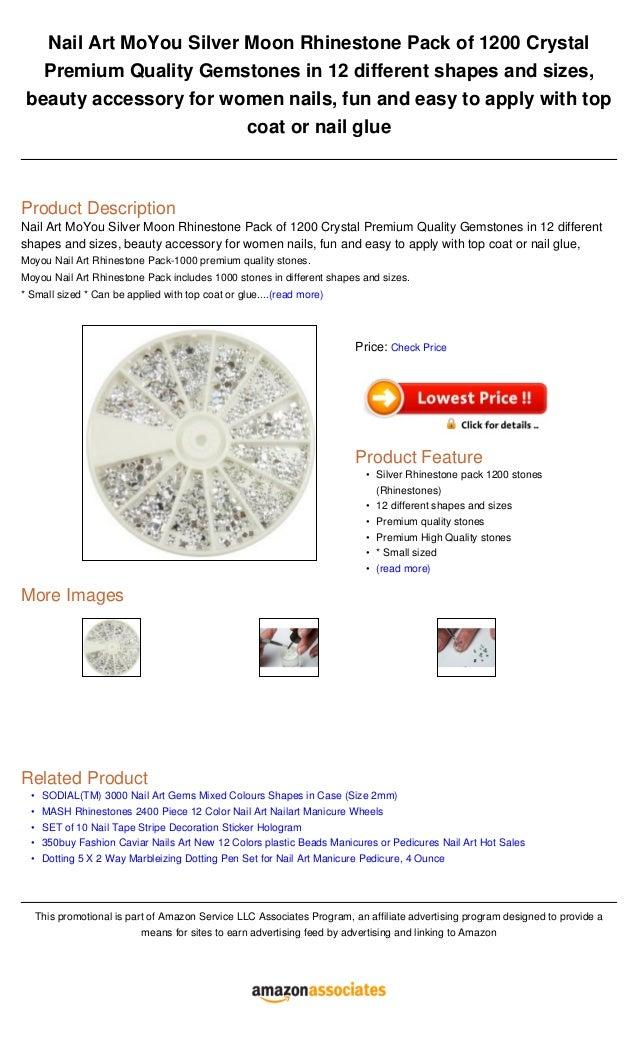 Nail art mo you silver moon rhinestone pack of 1200 crystal premium q…