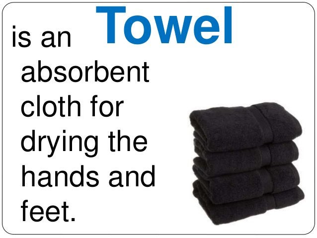 is an Towel  absorbent  cloth for  drying the  hands and  feet.