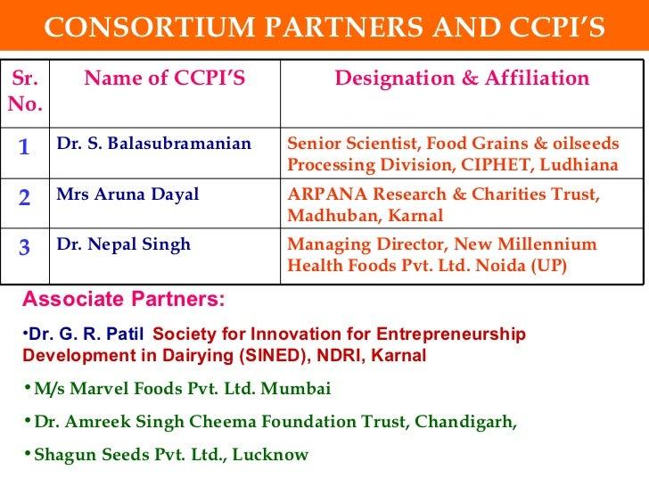CONSORTIUM PARTNERS AND CCPI'S <ul><li>Associate Partners:   </li></ul><ul><li>Dr. G. R. Patil Society for Innovation for ...