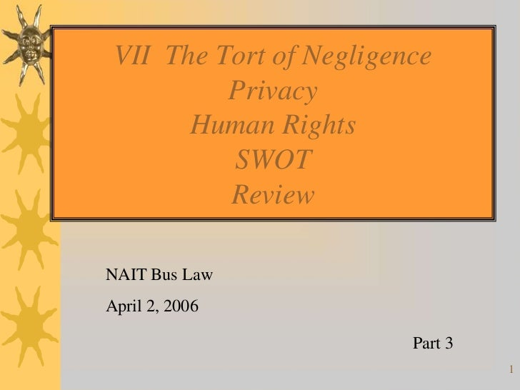 VII The Tort of Negligence          Privacy       Human Rights          SWOT          ReviewNAIT Bus LawApril 2, 2006     ...