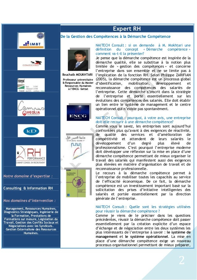 De la Gestion des Compétences à la Démarche Compétence, Bouchaib MOUKHTARI et Nabil GHARIB Slide 2