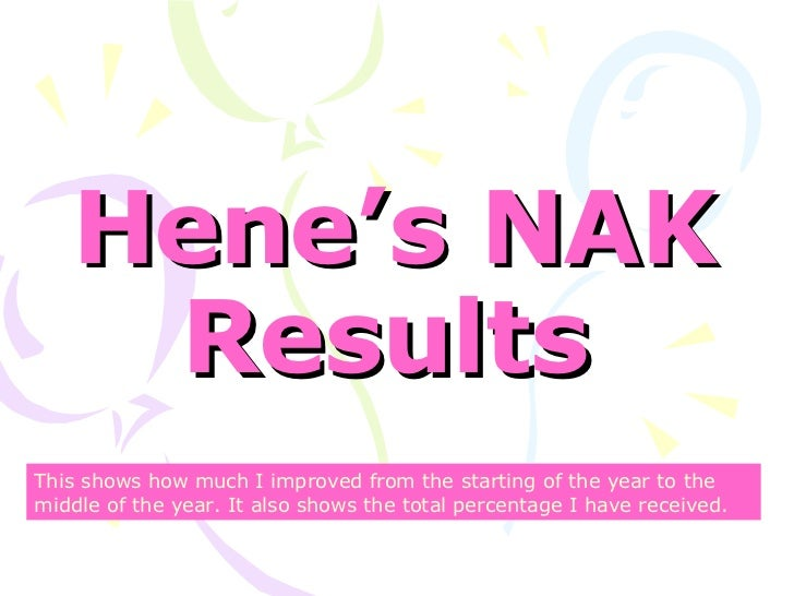 Hene's NAK Results   This shows how much I improved from the starting of the year to the middle of the year. It also shows...
