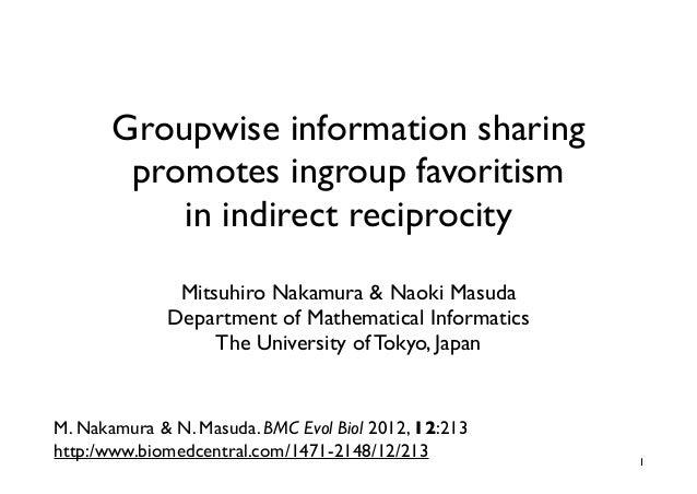 Groupwise information sharing        promotes ingroup favoritism           in indirect reciprocity               Mitsuhiro...