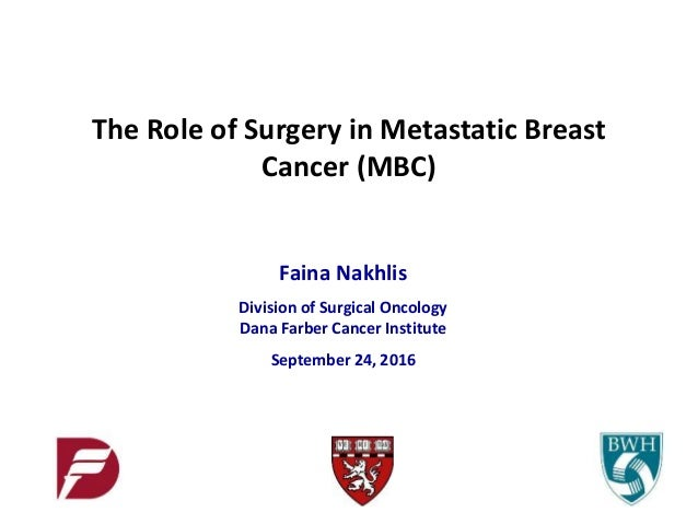 Faina Nakhlis Division of Surgical Oncology Dana Farber Cancer Institute September 24, 2016 The Role of Surgery in Metasta...