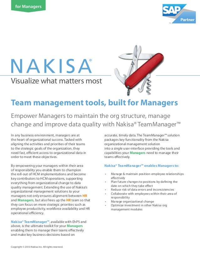 Visualize what matters most Empower Managers to maintain the org structure, manage change and improve data quality with Na...
