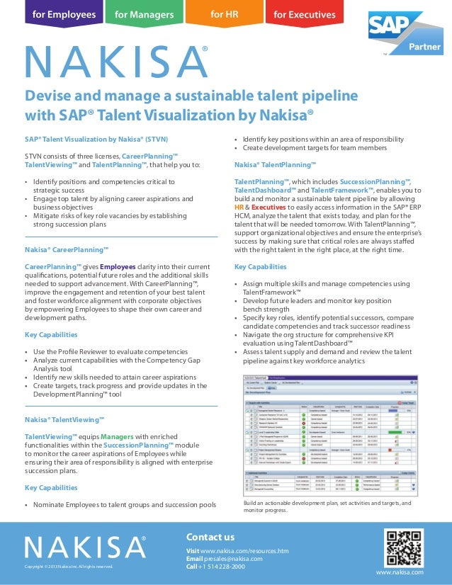SAP® Talent Visualization by Nakisa® (STVN) STVN consists of three licenses, CareerPlanning™ TalentViewing™ and TalentPlan...