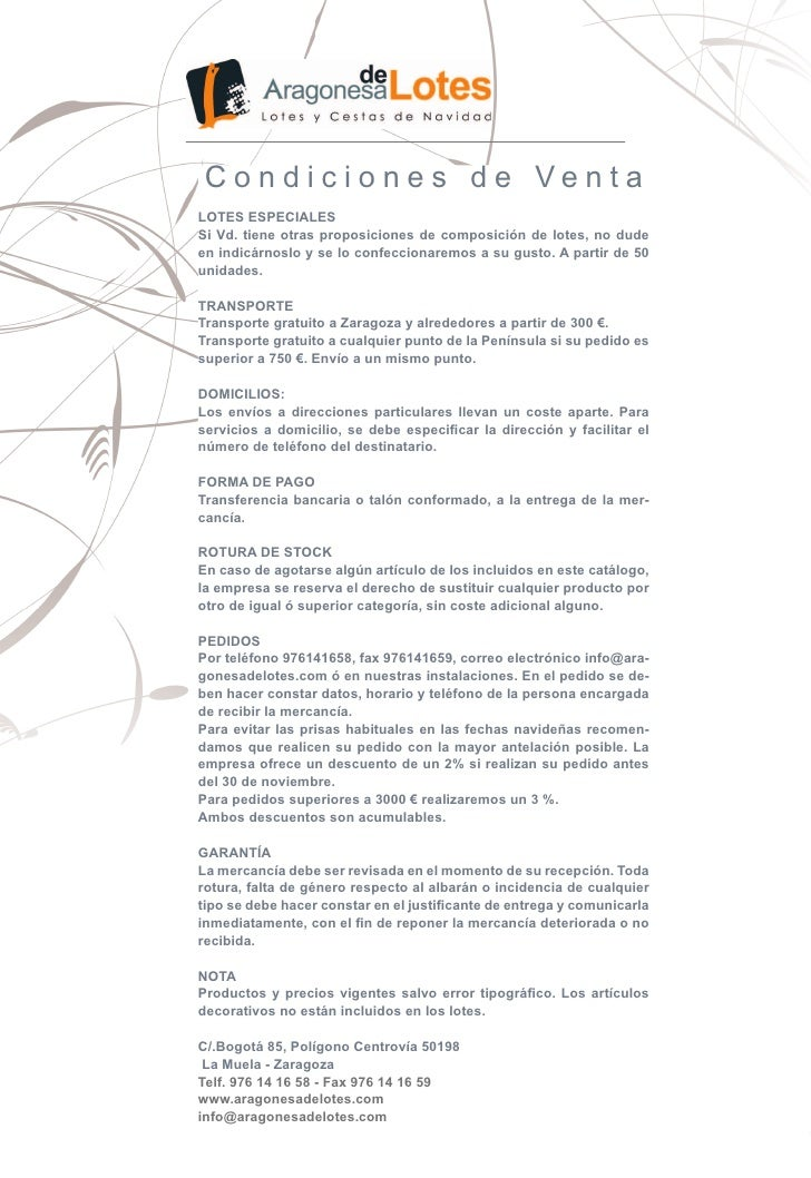 Condiciones de VentaLOTES ESPECIALESSi Vd. tiene otras proposiciones de composición de lotes, no dudeen indicárnoslo y se ...