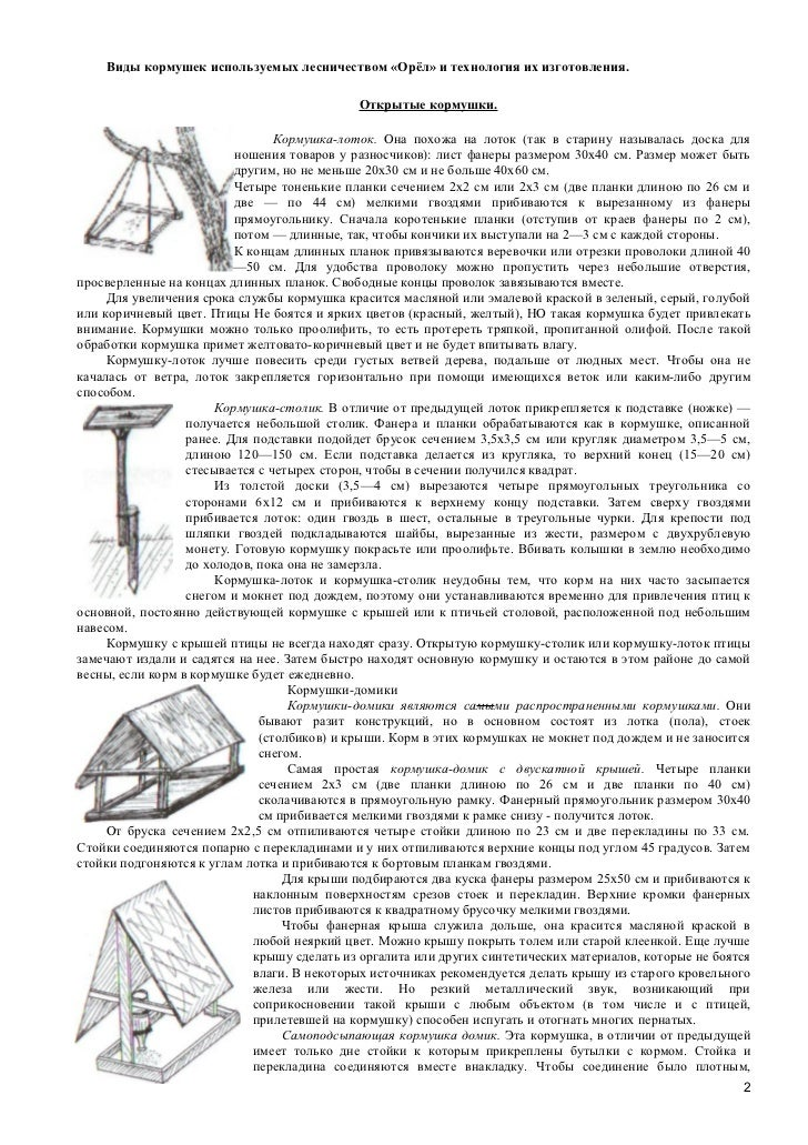 Виды кормушек используемых лесничеством «Орёл» и технология их изготовления.                                             О...