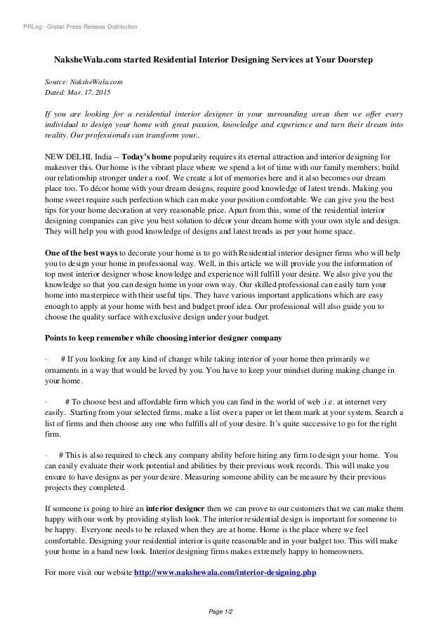 PRLog   Global Press Release Distribution NaksheWala.com Started Residential  Interior Designing Services At Your ...