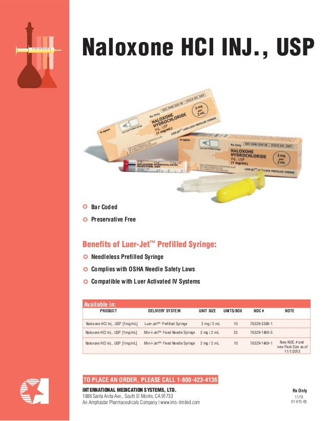 TO PLACE AN ORDER, PLEASE CALL 1-800-423-4136 Naloxone HCl INJ., USP PRODUCT DELIVERY SYSTEM UNIT SIZE UNITS/BOX NDC # NOT...