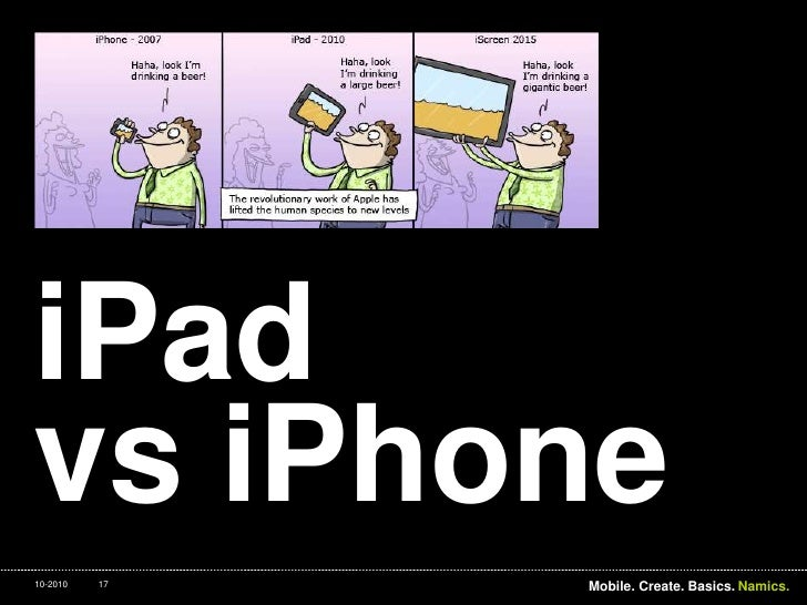 iPadvsiPhone<br />Interaction. Desktop. Touch.<br />17<br />Mobile. Create. Basics.<br />10-2010<br />