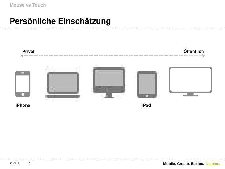 Persönliche Einschätzung<br />Mouse vs Touch<br />19<br />iPhone<br />iPad<br />Privat<br />Öffentlich<br />Mobile. Create...