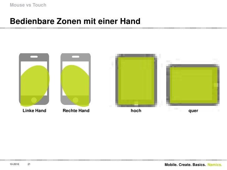 Bedienbare Zonen mit einer Hand<br />Mouse vs Touch<br />21<br />Linke Hand<br />Rechte Hand<br />hoch<br />quer<br />Mobi...
