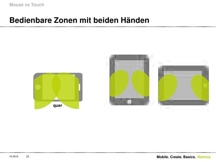 Bedienbare Zonen mit beiden Händen<br />Mouse vs Touch<br />22<br />quer<br />Mobile. Create. Basics. <br />10-2010<br />