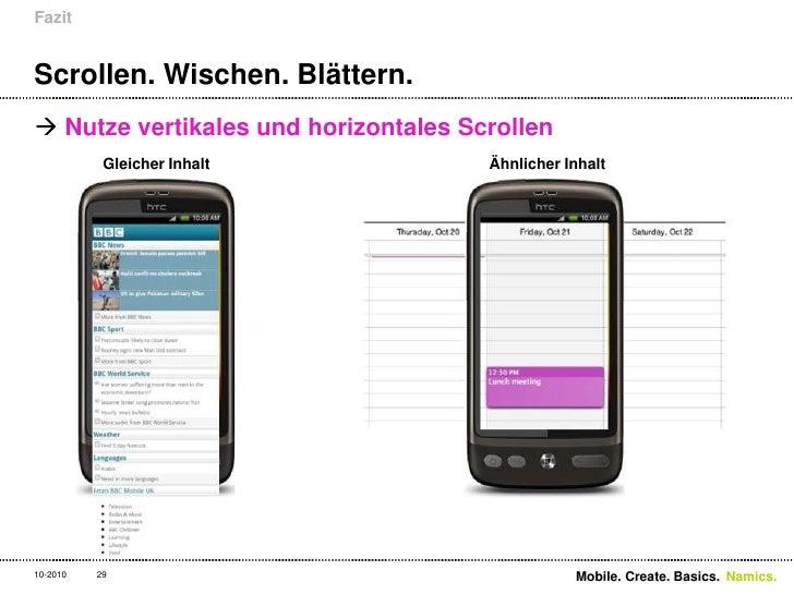 Scrollen. Wischen. Blättern.<br />Nutze vertikales und horizontales Scrollen<br />Fazit<br />10-2010<br />Mobile. Create. ...