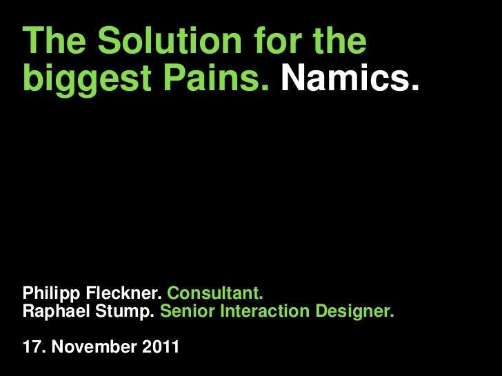 The Solution for thebiggest Pains. Namics.Philipp Fleckner. Consultant.Raphael Stump. Senior Interaction Designer.17. Nove...