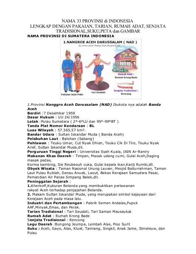 NAMA 33 PROVINSI di INDONESIA LENGKAP DENGAN PAKAIAN, TARIAN, RUMAH ADAT, SENJATA TRADISIONAL,SUKU,PETA dan GAMBAR NAMA PR...