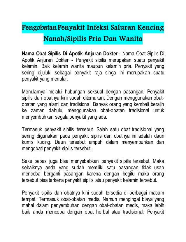 PengobatanPenyakit Infeksi Saluran Kencing Nanah/Sipilis Pria Dan Wanita Nama Obat Sipilis Di Apotik Anjuran Dokter - Nama...