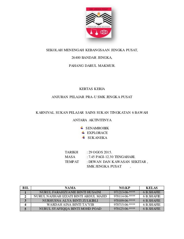 SEKOLAH MENENGAH KEBANGSAAN JENGKA PUSAT, 26400 BANDAR JENGKA, PAHANG DARUL MAKMUR. KERTAS KERJA ANJURAN PELAJAR PRA-U SMK...