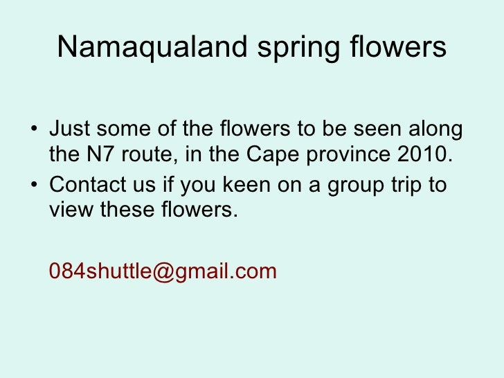Namaqualand spring flowers <ul><li>Just some of the flowers to be seen along the N7 route, in the Cape province 2010. </li...