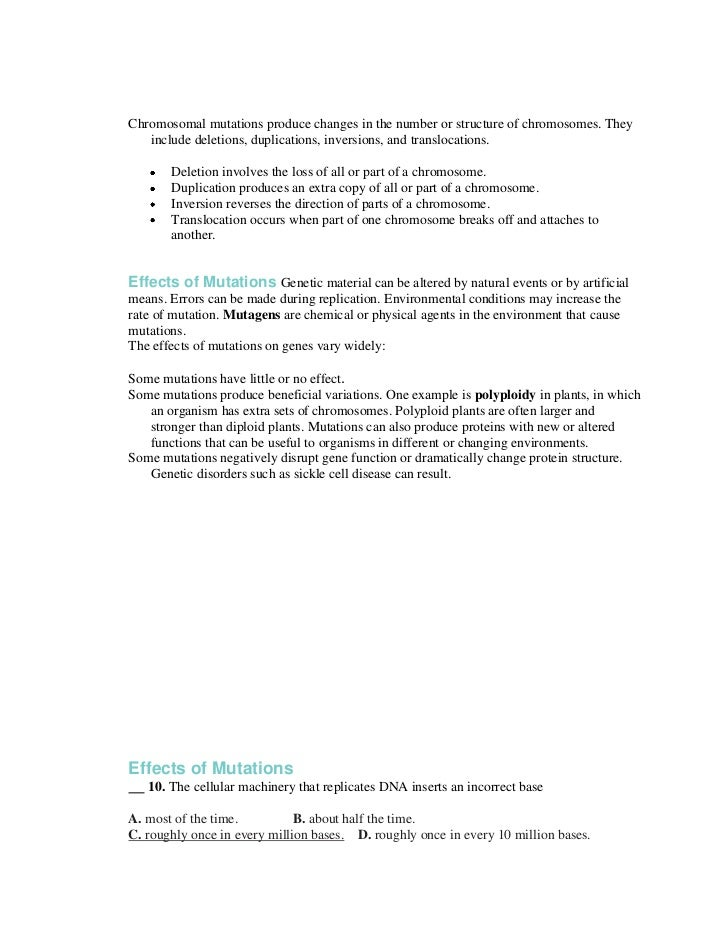 Gene Mutation Worksheet Free Worksheets Library | Download and ...