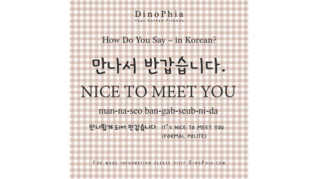 만나서 반갑습니다 nice to meet you Korean How Do You Say in Korean