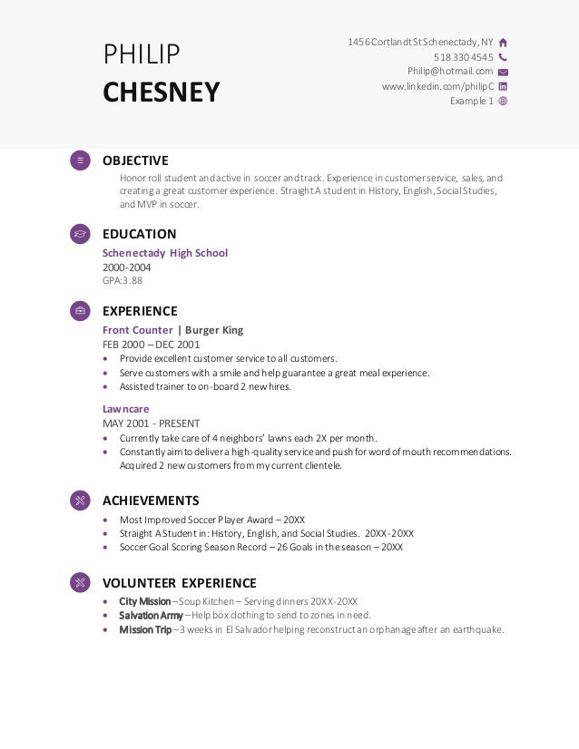 High School Resume Demo Template