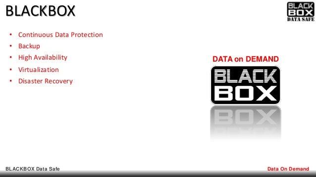 BLACKBOX Data Safe Data On Demand BLACKBOX DATA on DEMAND • Continuous Data Protection • Backup • High Availability • Virt...