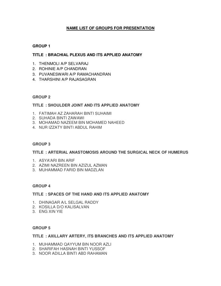Name list of groups for presentation 2[1]
