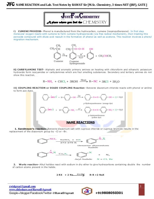 Name reactions organic chemistry for class 12 rawat's jfc