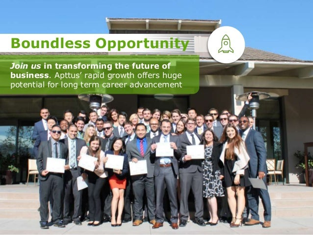 Join us in transforming the future of business. Apttus' rapid growth offers huge potential for long term career advancemen...