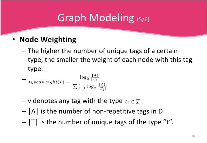 There are in total four micro-clusters.</li></li></ul><li>Graph Modeling (4/6)<br />Assign  different type weights to node...