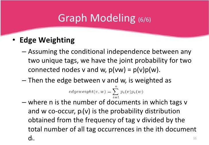 Graph Modeling (5/6)<br />Node Weighting<br />The higher the number of unique tags of a certain type, the smaller the weig...