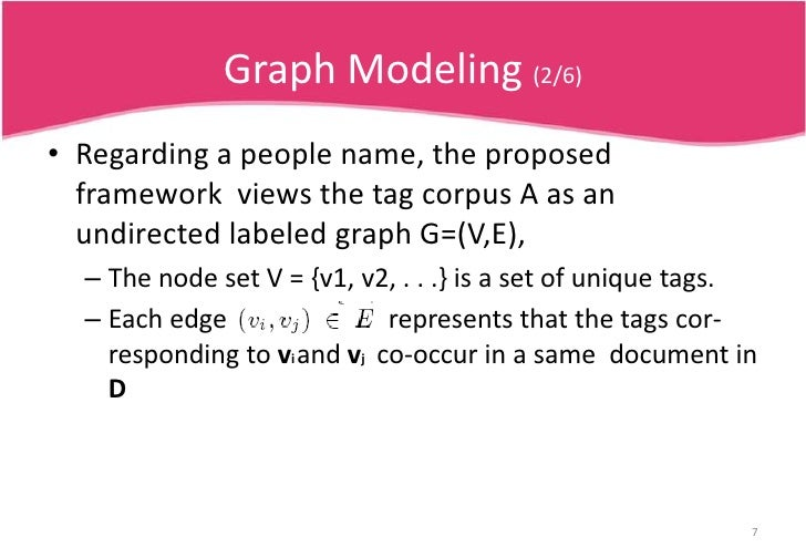Graph Modeling (2/6)<br />Regarding a people name, the proposed framework  views the tag corpus A as an undirected labeled...