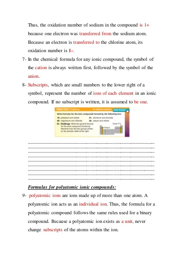 Names And Formulas Of Ionic Compounds Study Guide