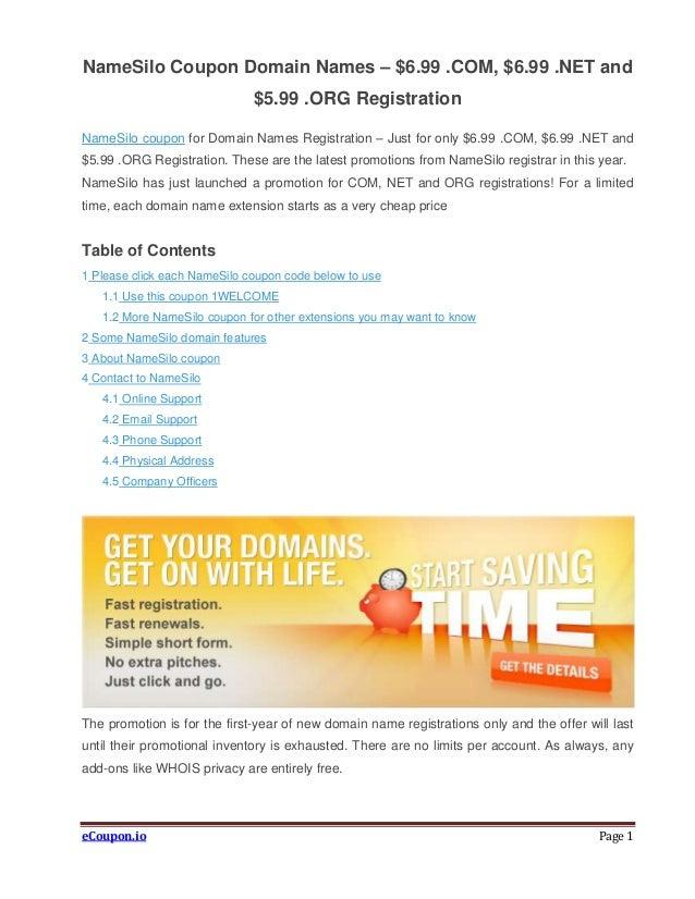 NameSilo coupon domain names – Just $6.99 .com, $6.99 .net ...