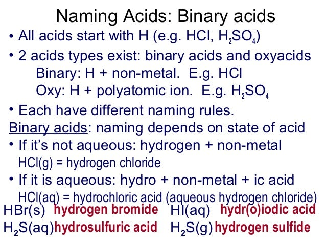 distinguish between binary acids and oxyacids
