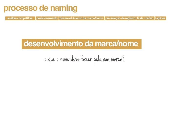processo de naminganálise competitiva   posicionamento desenvolvimento da marca/nome pré-seleção de registro teste criativ...