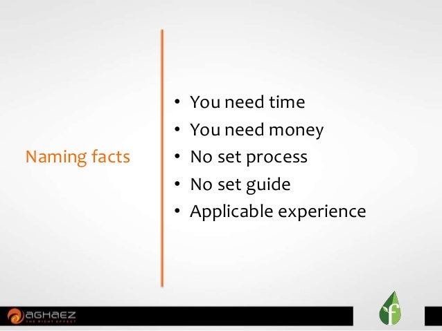 • You need time • You need money • No set process • No set guide • Applicable experience Naming facts