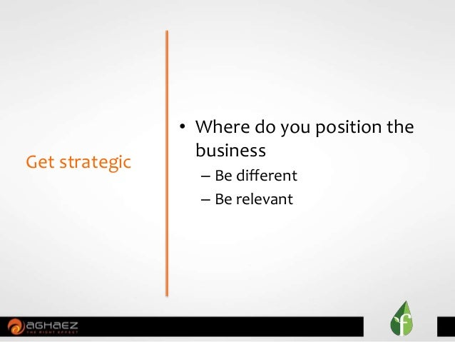 • Where do you position the business – Be different – Be relevant Get strategic